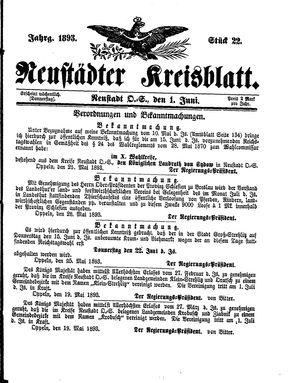 Neustädter Kreisblatt vom 01.06.1893