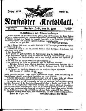 Neustädter Kreisblatt vom 20.07.1893