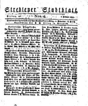 Strehlener Stadtblatt vom 06.02.1835