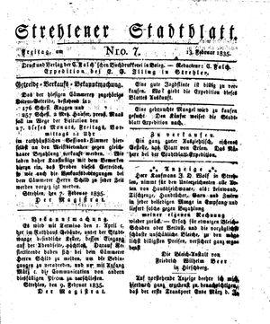 Strehlener Stadtblatt vom 13.02.1835
