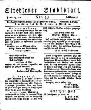 Strehlener Stadtblatt vom 06.03.1835