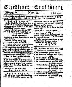 Strehlener Stadtblatt vom 03.04.1835