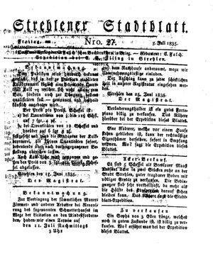 Strehlener Stadtblatt vom 03.07.1835