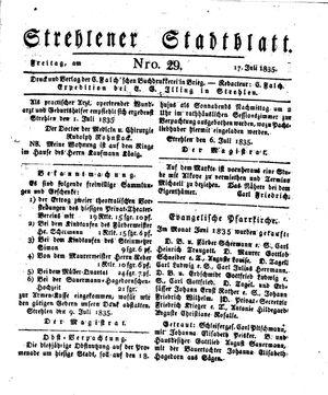 Strehlener Stadtblatt vom 17.07.1835