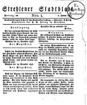 Strehlener Stadtblatt vom 06.01.1837