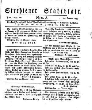Strehlener Stadtblatt vom 20.01.1837