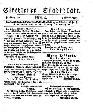 Strehlener Stadtblatt vom 03.02.1837