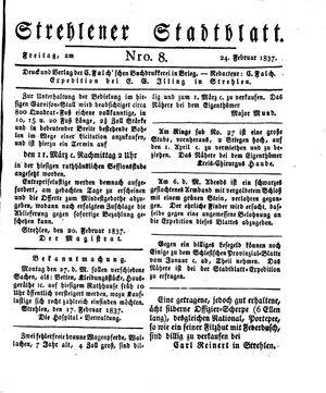 Strehlener Stadtblatt vom 24.02.1837