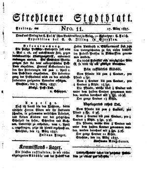 Strehlener Stadtblatt vom 17.03.1837
