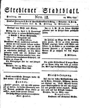 Strehlener Stadtblatt vom 24.03.1837