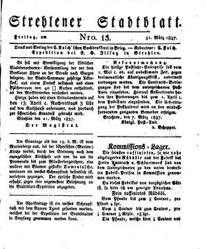 Strehlener Stadtblatt vom 31.03.1837