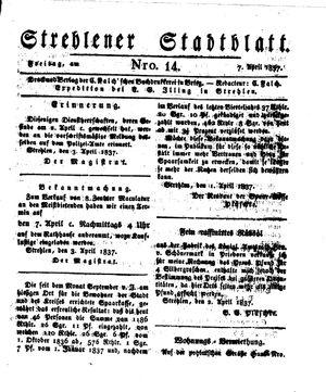 Strehlener Stadtblatt vom 07.04.1837