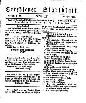 Strehlener Stadtblatt vom 28.04.1837