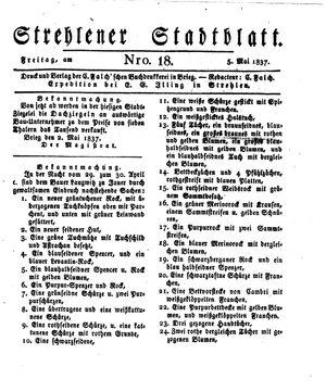 Strehlener Stadtblatt on May 5, 1837