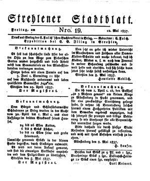 Strehlener Stadtblatt vom 12.05.1837