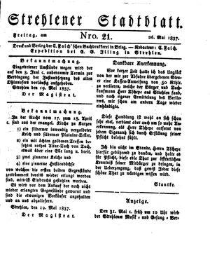 Strehlener Stadtblatt vom 26.05.1837