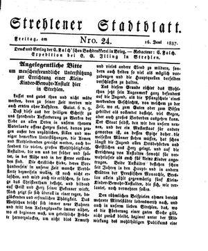 Strehlener Stadtblatt vom 16.06.1837