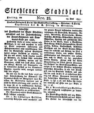 Strehlener Stadtblatt vom 23.06.1837