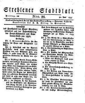 Strehlener Stadtblatt vom 30.06.1837