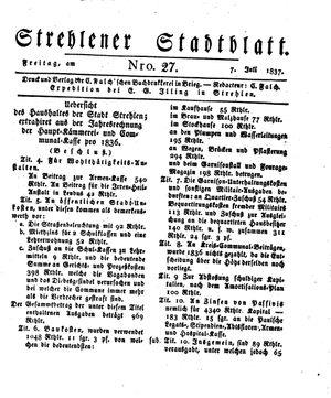 Strehlener Stadtblatt vom 07.07.1837