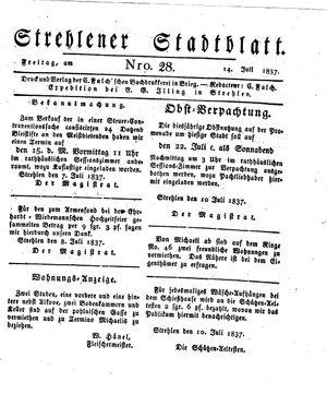 Strehlener Stadtblatt vom 14.07.1837