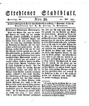 Strehlener Stadtblatt vom 21.07.1837