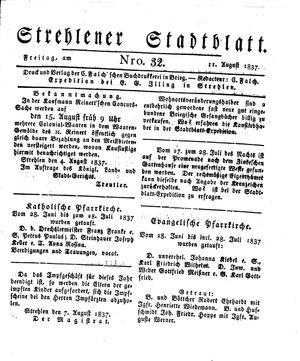 Strehlener Stadtblatt vom 11.08.1837