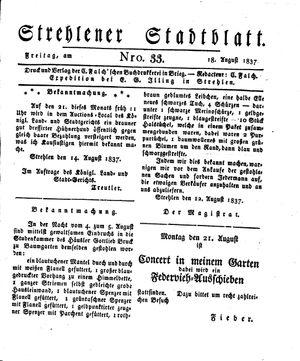 Strehlener Stadtblatt vom 18.08.1837
