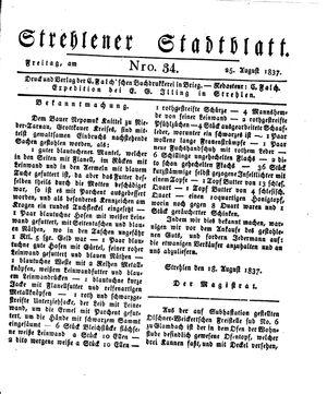 Strehlener Stadtblatt vom 25.08.1837