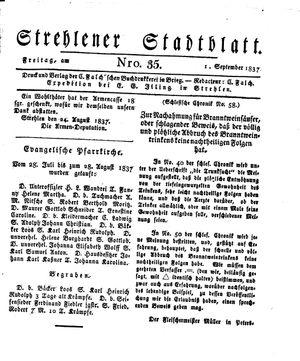 Strehlener Stadtblatt vom 01.09.1837