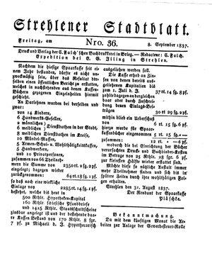 Strehlener Stadtblatt vom 08.09.1837