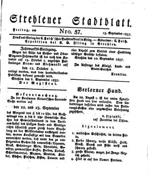 Strehlener Stadtblatt vom 15.09.1837