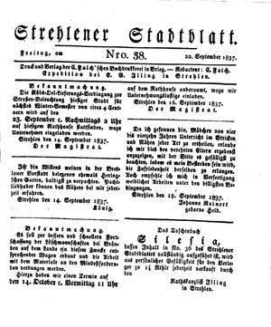 Strehlener Stadtblatt vom 22.09.1837
