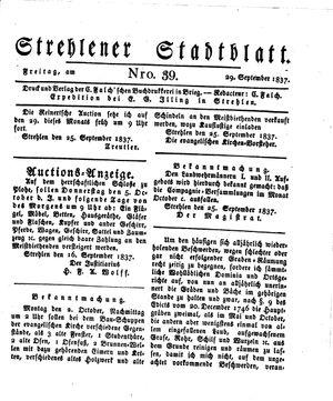Strehlener Stadtblatt vom 29.09.1837