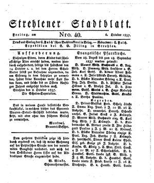 Strehlener Stadtblatt vom 06.10.1837
