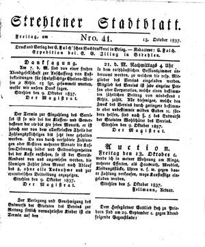 Strehlener Stadtblatt vom 13.10.1837