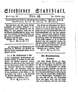Strehlener Stadtblatt vom 20.10.1837