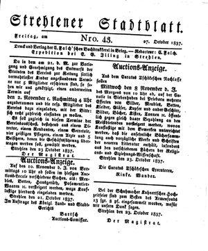 Strehlener Stadtblatt vom 27.10.1837