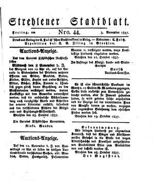 Strehlener Stadtblatt vom 03.11.1837