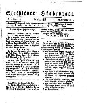Strehlener Stadtblatt vom 10.11.1837