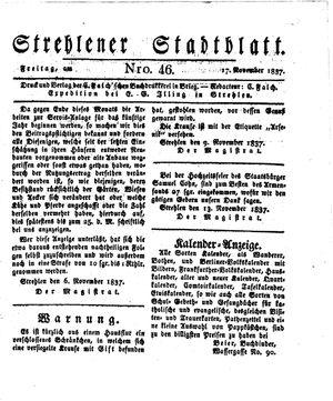Strehlener Stadtblatt vom 17.11.1837