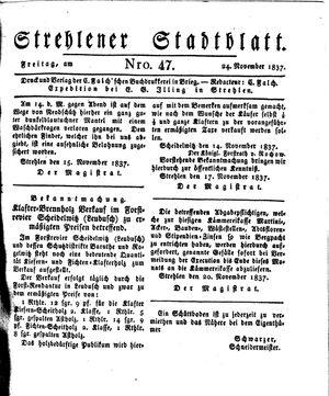 Strehlener Stadtblatt vom 24.11.1837