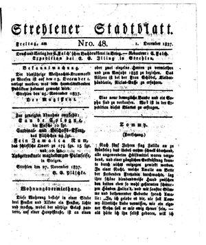 Strehlener Stadtblatt vom 01.12.1837