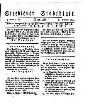 Strehlener Stadtblatt on Dec 8, 1837