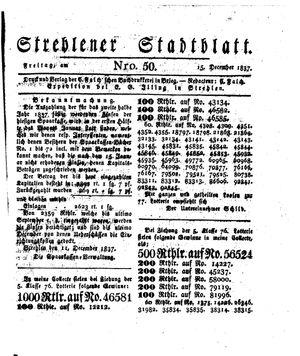 Strehlener Stadtblatt vom 15.12.1837