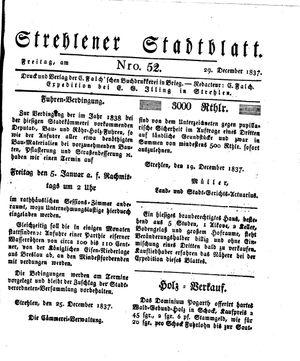 Strehlener Stadtblatt vom 29.12.1837
