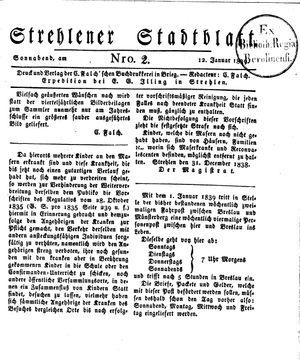 Strehlener Stadtblatt on Jan 12, 1839