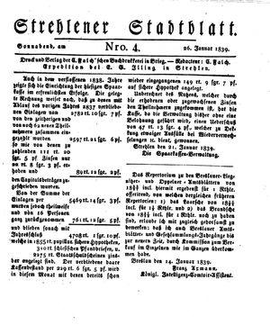 Strehlener Stadtblatt vom 26.01.1839