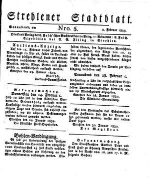 Strehlener Stadtblatt vom 02.02.1839