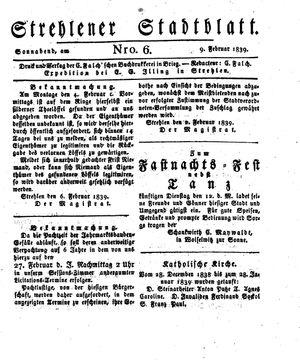 Strehlener Stadtblatt vom 09.02.1839